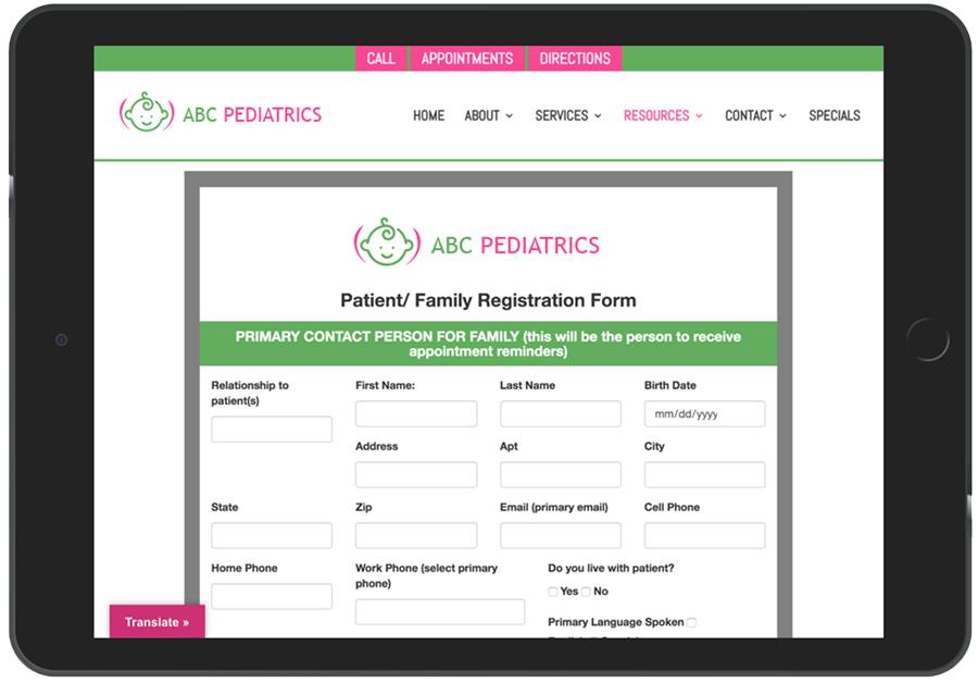 Digital Patient Registration For Pediatrics