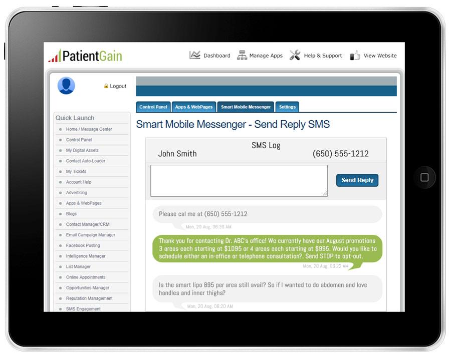 Smart Mobile Messenger App For Healthcare Marketing $99/mon