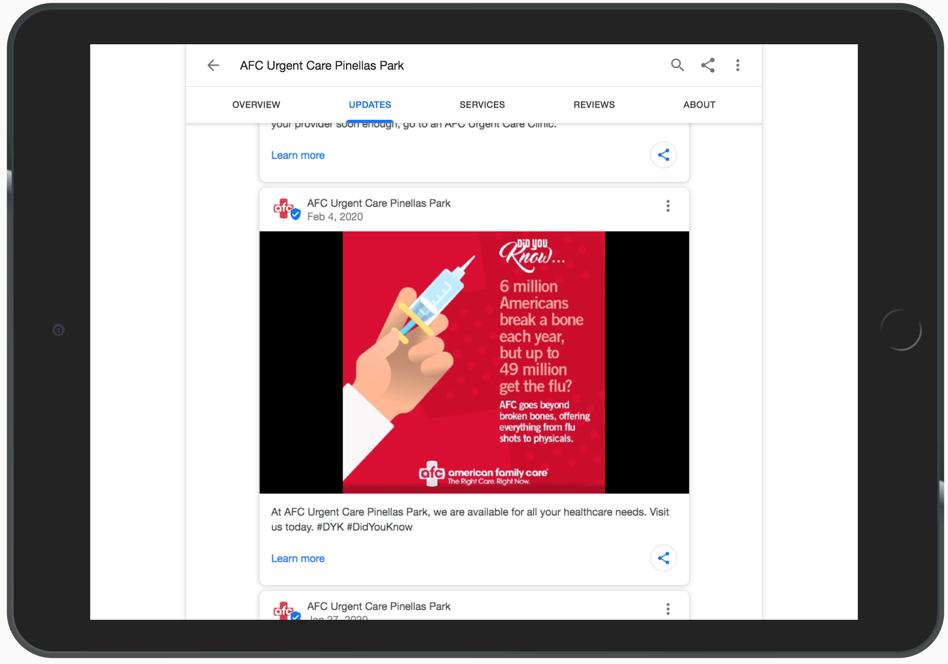 Google Posts VS Facebook Posts Example 1