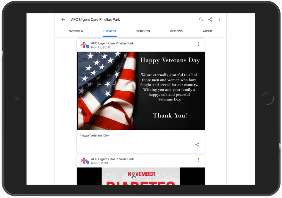 Healthcare Marketing Google Posts VS Facebook Posts Example 2