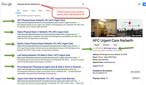 "SEO Example 4 :  Patient Searching for ""physical exams in narberth pa"""