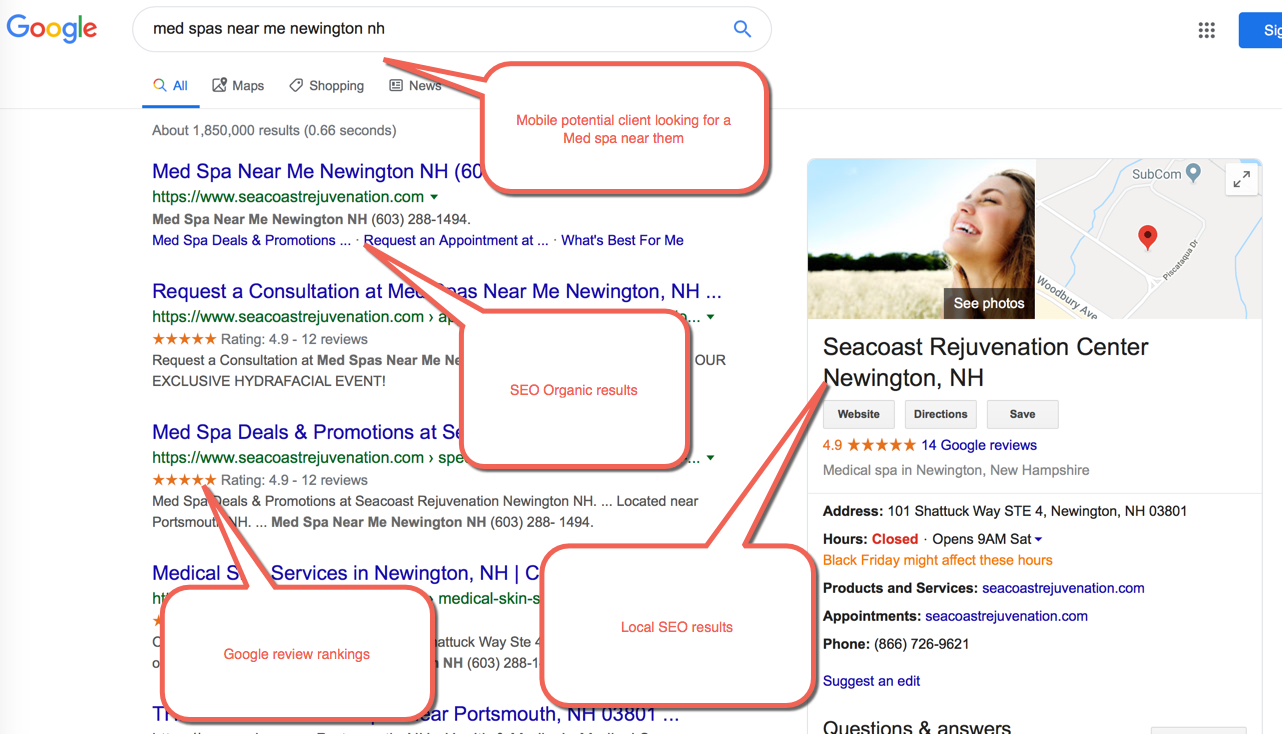 Example No 4 For Effective Medspa Marketing: SuperiorSEO with Reviews Ratings Embeddedin Search Results.