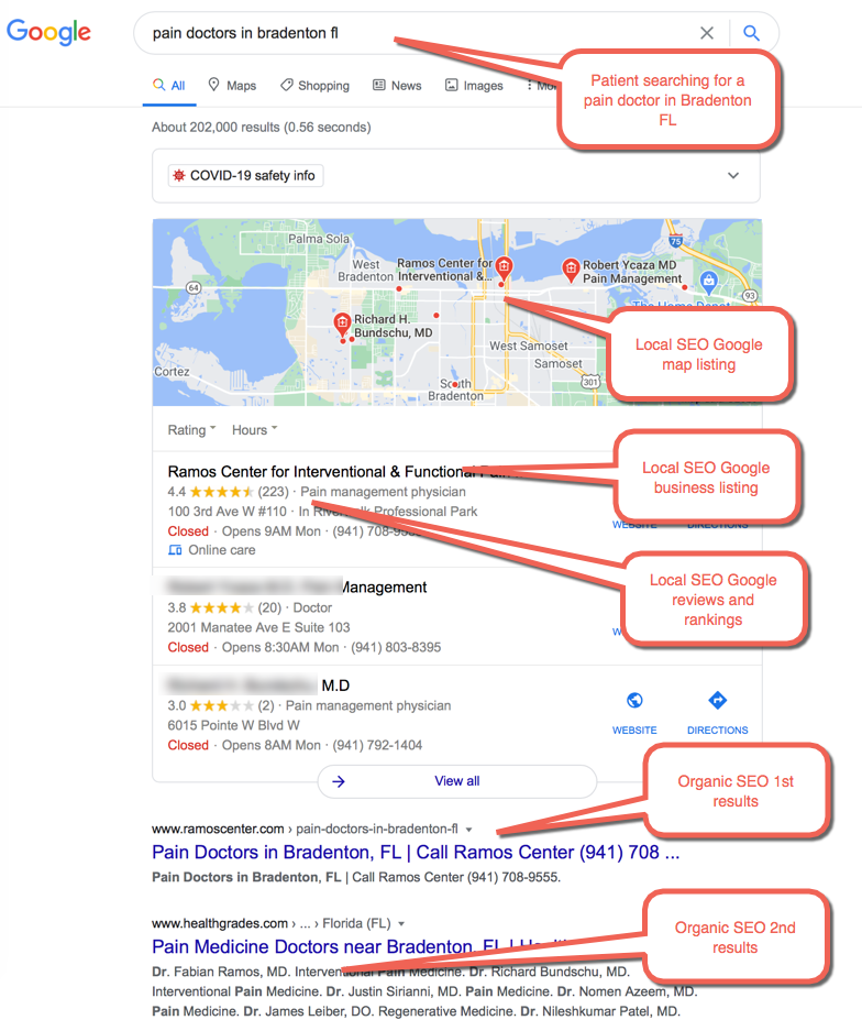 """SEO Example 4 :  Patient Searching for """"pain doctors in bradenton fl"""""""