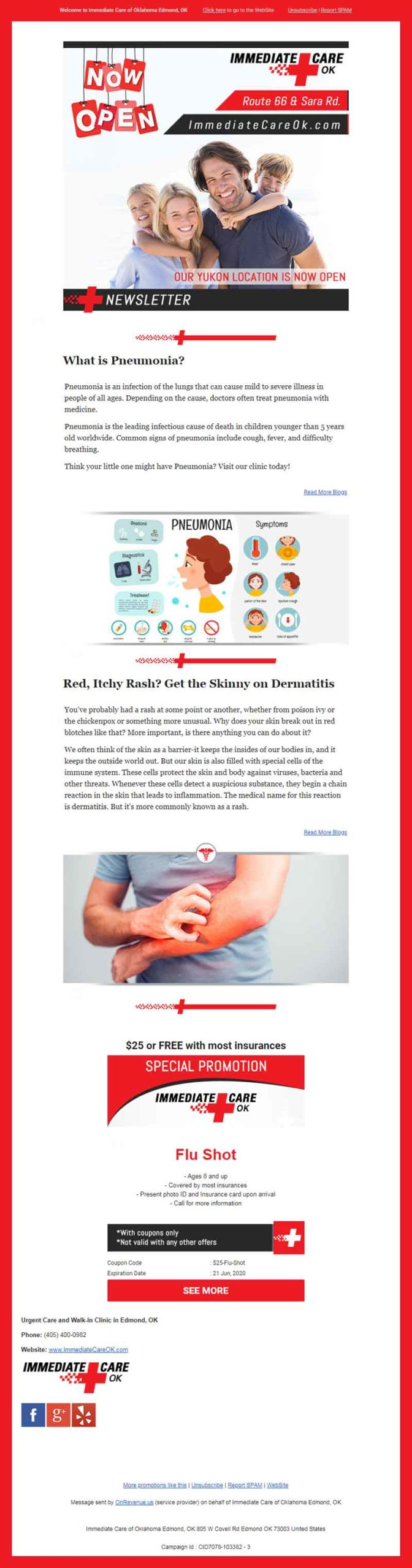 Urgent Care Marketing Example Monthly Newsletter