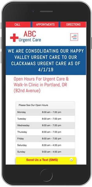 Urgent Care Marketing Mobile Optimized Website Example 13