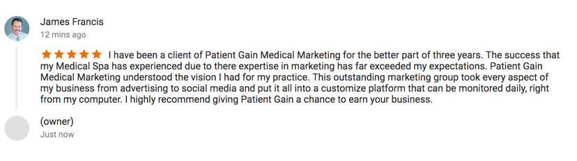Medical Marketing PatientGain Reviews