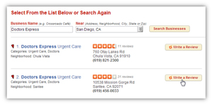 """On the """"Complete Your Review"""" page, you can assign a rating for the business by moving your mouse over the Rating box and selecting how many stars you think the business deserves. You can also write any comments you have about your service experience or the business itself in the """"your Review"""" box."""